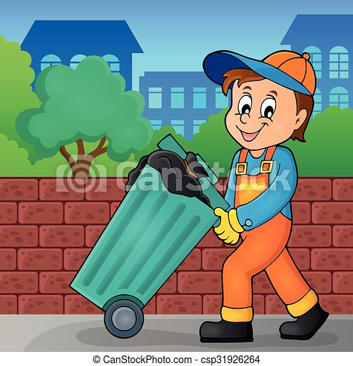 Garbage Collector Theme Image 2 Vector