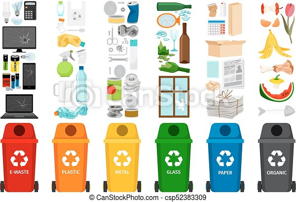 Garbage containers and types of trash - csp52383309