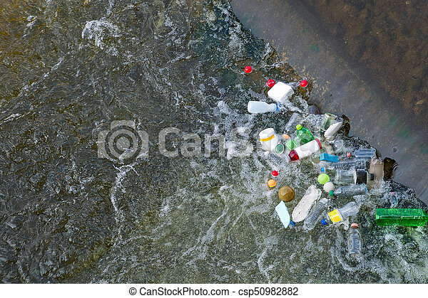 Plastic Bottles Bags Trash In River Or Lake Rubbish And
