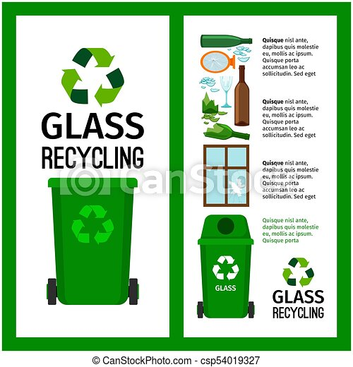 Garbage green container info with glass - csp54019327