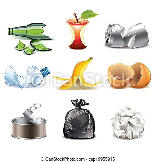 Garbage icons detailed vector set - csp19955915