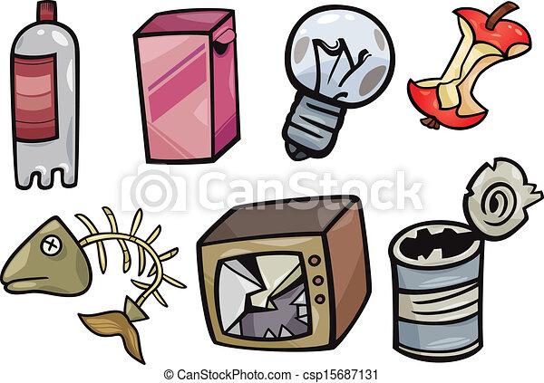 garbage objects cartoon illustration set - csp15687131