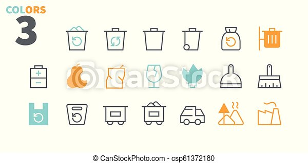 Garbage Outlined Pixel Perfect Well-crafted Vector Thin Line Icons 48x48 Ready for 24x24 Grid for Web Graphics and Apps with Editable Stroke. Simple Minimal Pictogram Part 1-1 - csp61372180
