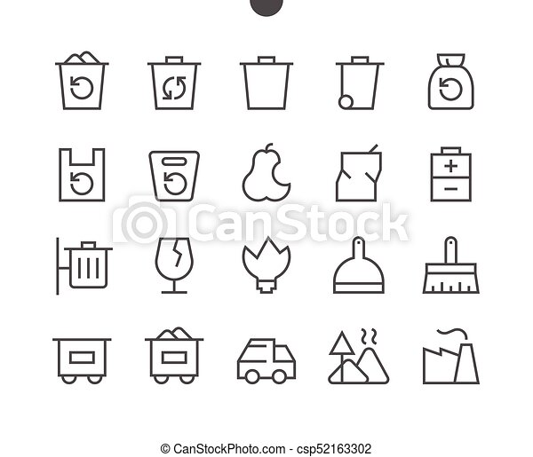 Garbage Outlined Pixel Perfect Well-crafted Vector Thin Line Icons 48x48 Ready for 24x24 Grid for Web Graphics and Apps with Editable Stroke. Simple Minimal Pictogram - csp52163302