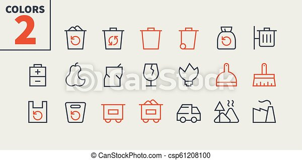 Garbage Outlined Pixel Perfect Well-crafted Vector Thin Line Icons 48x48 Ready for 24x24 Grid for Web Graphics and Apps with Editable Stroke. Simple Minimal Pictogram Part 1-1 - csp61208100