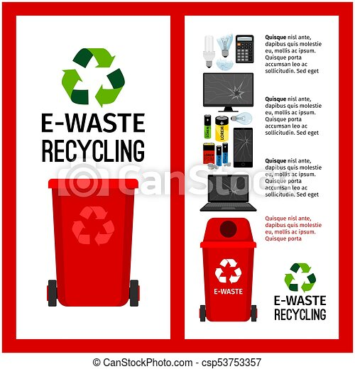 Garbage red container info with e-waste - csp53753357