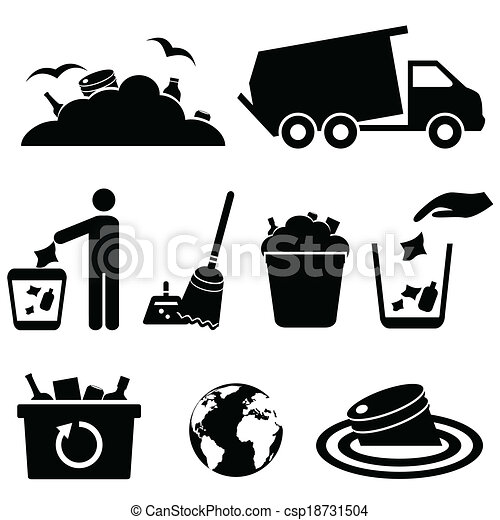 Garbage, trash and waste icons - csp18731504