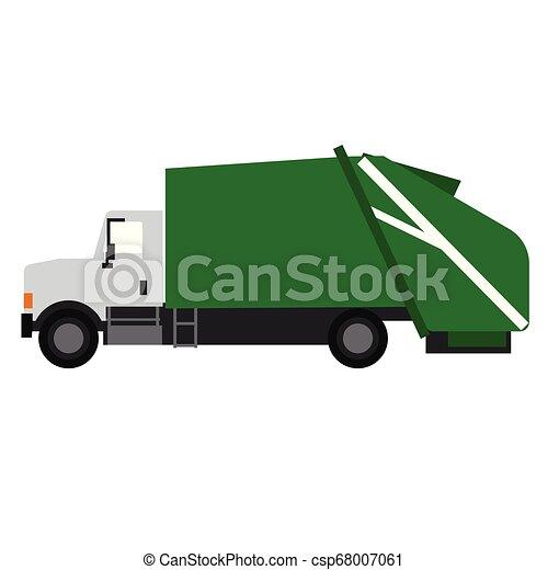 Garbage truck flat illustration on white - csp68007061