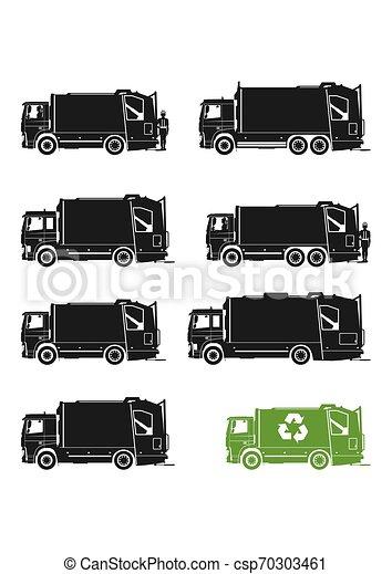 Garbage truck icons. - csp70303461