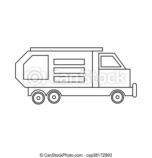 Garbage Truck Waste Collector Icon Outline Style
