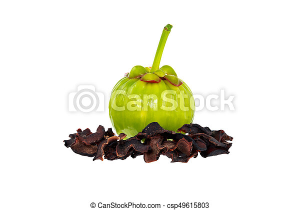 Garcinia Cambogia Fresh And Dried Fruits Isolated On White Fruit For Diet And Good Health