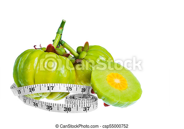 Garcinia Cambogia Fresh Fruit With Tapeline Isolated On White