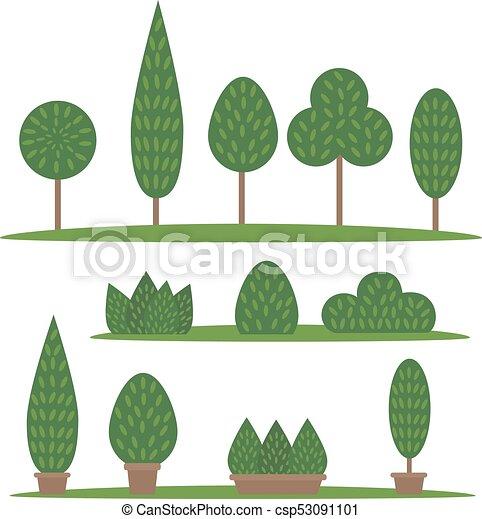 Garden and park set. Cartoon trees and bushes - csp53091101