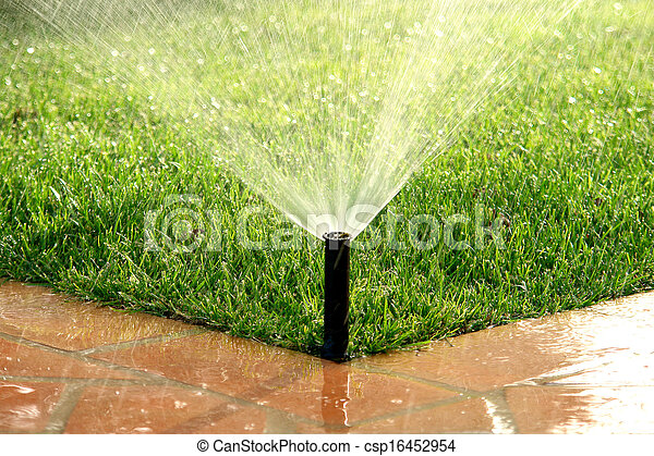 Garden automatic irrigation system watering lawn - csp16452954