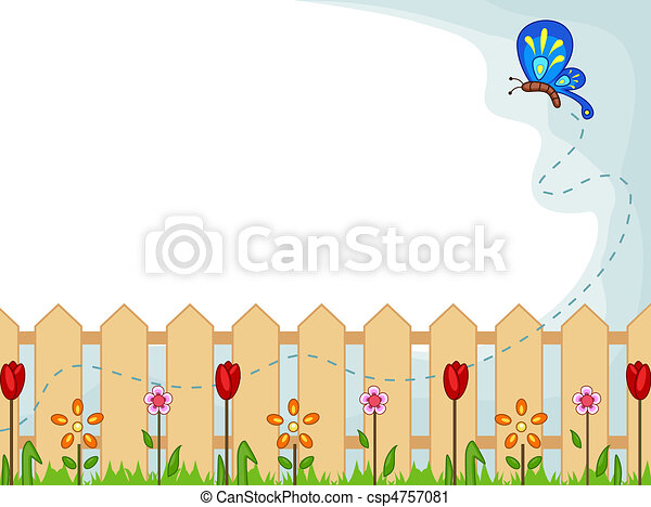 Garden Background Illustration Featuring A Cute