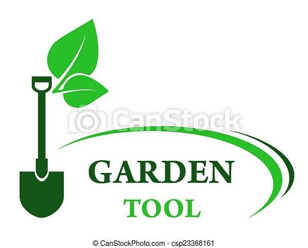 garden background with shovel - csp23368161