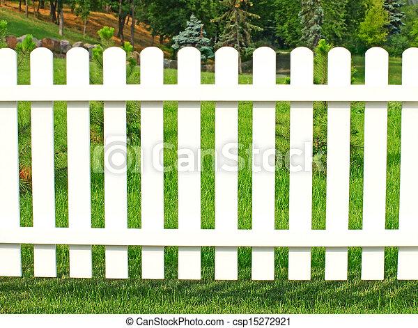 Garden., barrière blanche. Jardin, barrière, contre, grass., blanc vert.