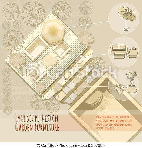 Garden Design. Lounge Chairs, Umbrella. Top View.   Csp45307988