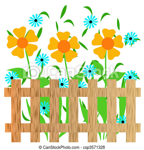garden fence illustration colorful flower garden with fence rh canstockphoto com flower garden clipart black and white flower garden clip art images free