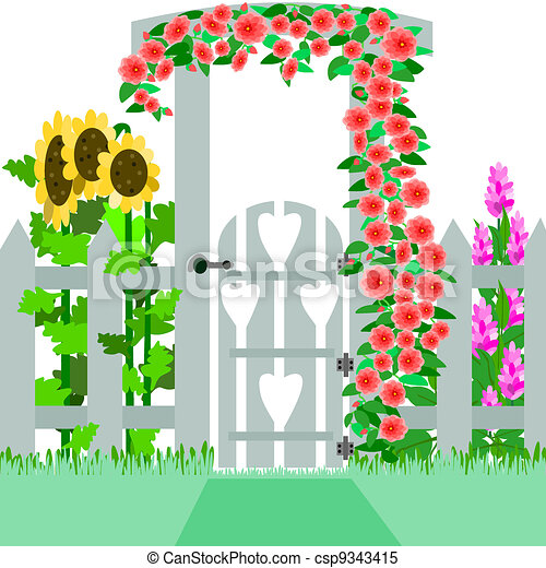 garden gate illustration of a gate and trellis that