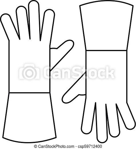 Garden gloves icon, outline style