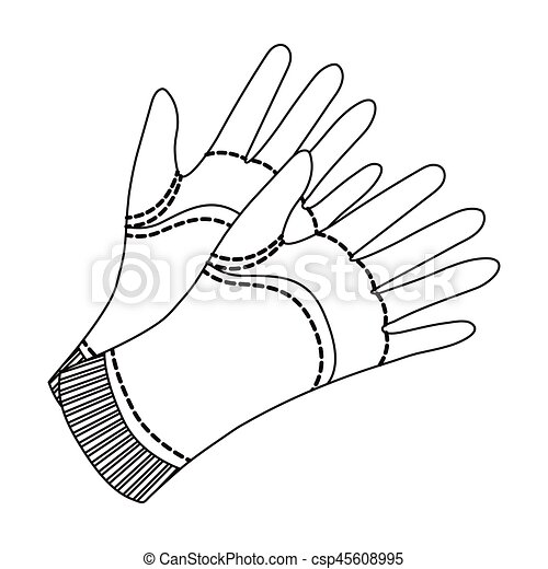 Garden gloves to work with the land in the garden. Protective gardener  clothing.Farm and gardening single icon in outline style vector symbol  stock