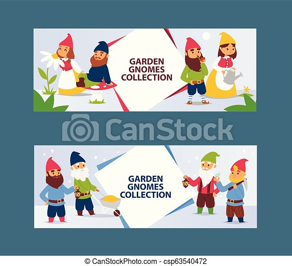 Garden gnome beard dwarf characters cadrs and gardening flayer klitsch family figure background vector illustration - csp63540472