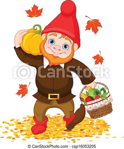 Garden Gnome with harvest - csp16053205