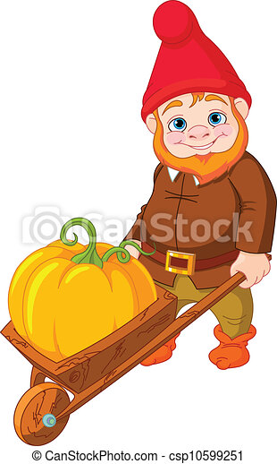 Garden Gnome with wheelbarrow - csp10599251