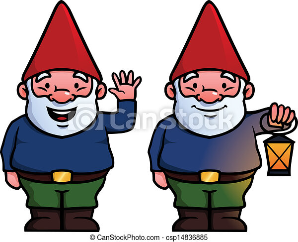 two garden gnomes one waving and one holding a lamp vector rh canstockphoto com garden gnome clipart free gnome clipart black and white