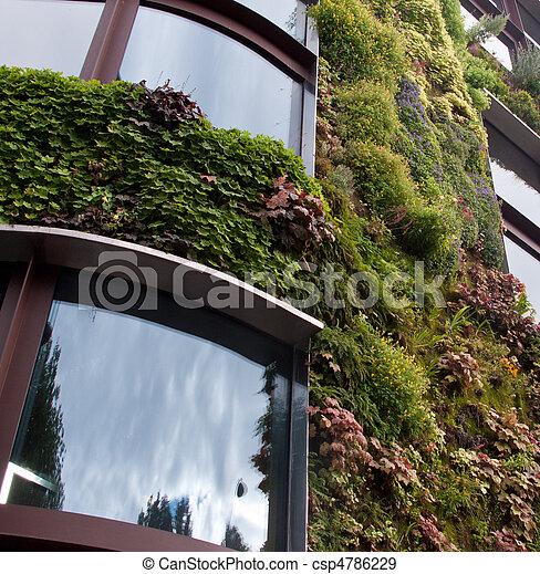 Garden growing on side of building - csp4786229