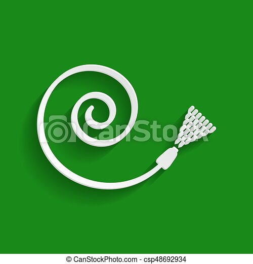 Garden hose sign. Vector. Paper whitish icon with soft shadow on green background. - csp48692934