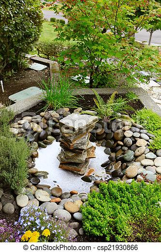 Garden., Ideen, Steinen, Gartengestaltung, Brunnen, Daheim   Csp21930866