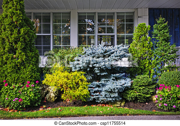 Garden in front of house - csp11755514