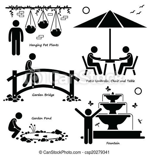 Garden Outdoor Fixtures Icons - csp20279341