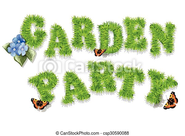 Garden party invitation with grass and butterfly vector Search