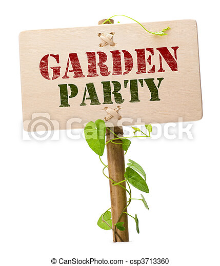 Garden party invitation card message on a wooden panel and green garden party invitation card csp3713360 stopboris Images