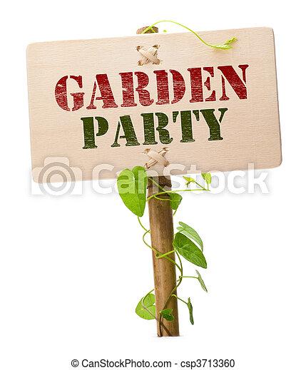 Garden party invitation card message on a wooden panel and stock garden party invitation card csp3713360 stopboris Choice Image