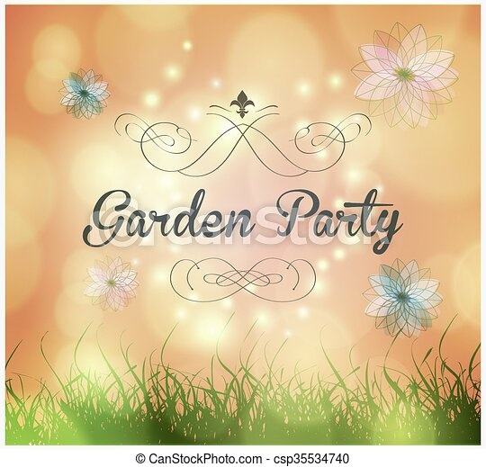 vector garden party invitation with ornaments and flowers