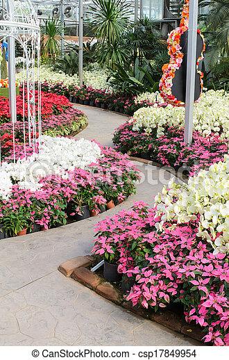 garden path in beautiful flowers stock photo - Flower Garden Path