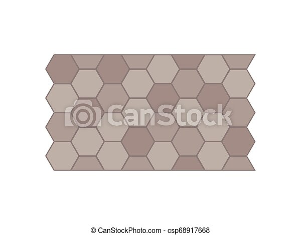 Garden path of tiles. View from above. Vector illustration. - csp68917668
