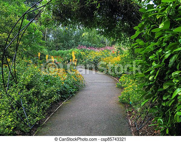 Garden path through mixed flower borders - csp85743321