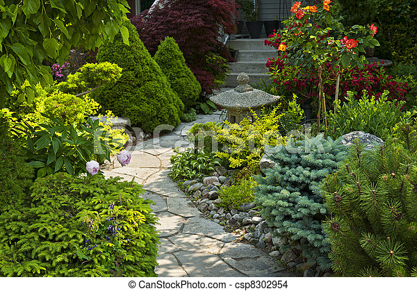 Garden path with stone landscaping - csp8302954