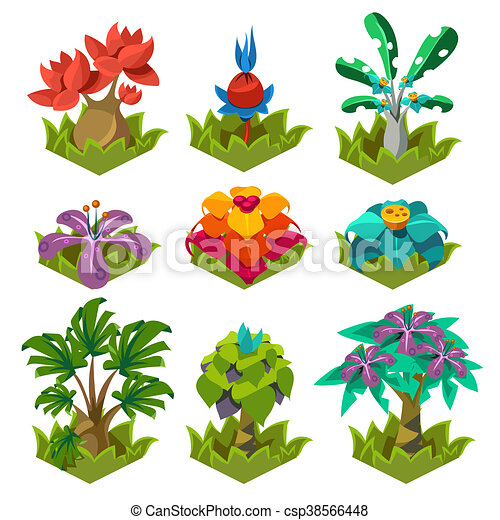 Garden Plants With Flowers For Game Stock Illustration