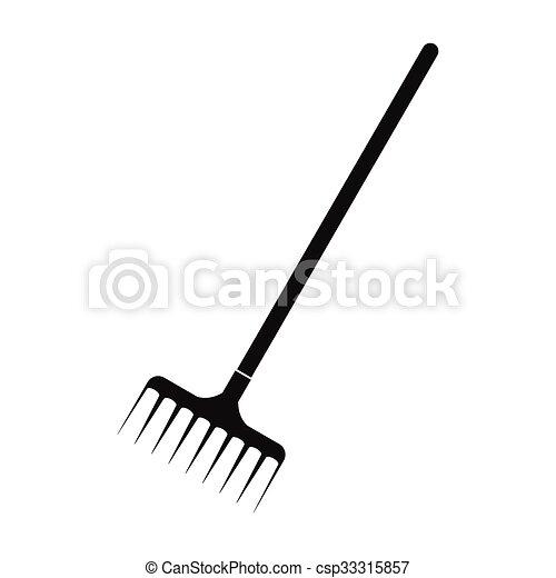 garden rake. Garden Rake Black Simple Icon - Csp33315857