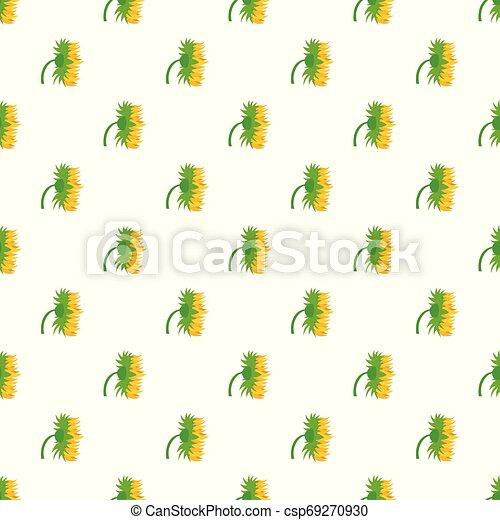 Garden sunflower pattern seamless vector - csp69270930