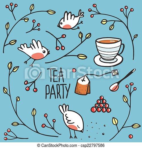Vector of Garden Tea Party with Birds Twigs and Berries Simple