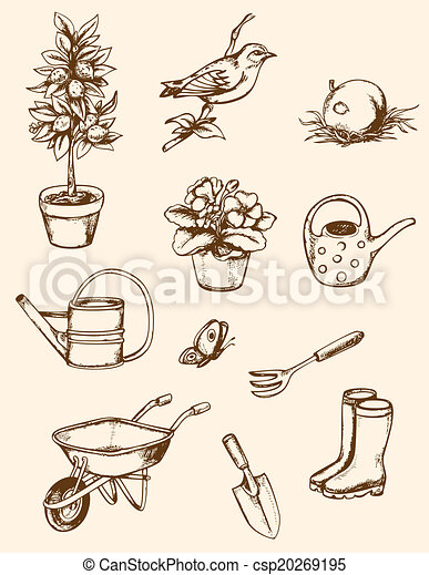 Set of vintage hand drawn garden tools eps vectors for Gardening tools drawing