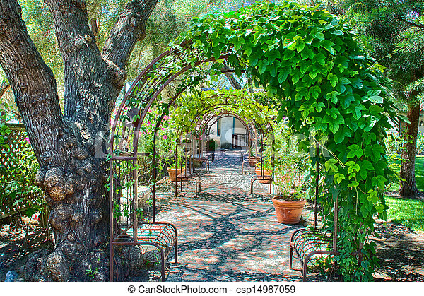 Garden With Overhead Arbor Stock Photo