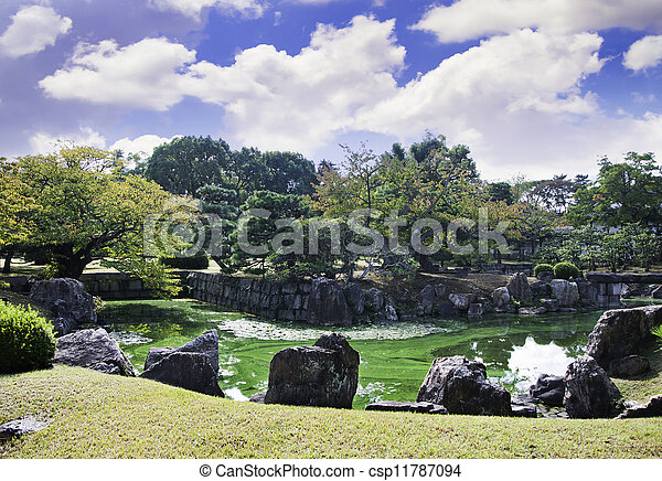 garden with pond, japanese style - csp11787094